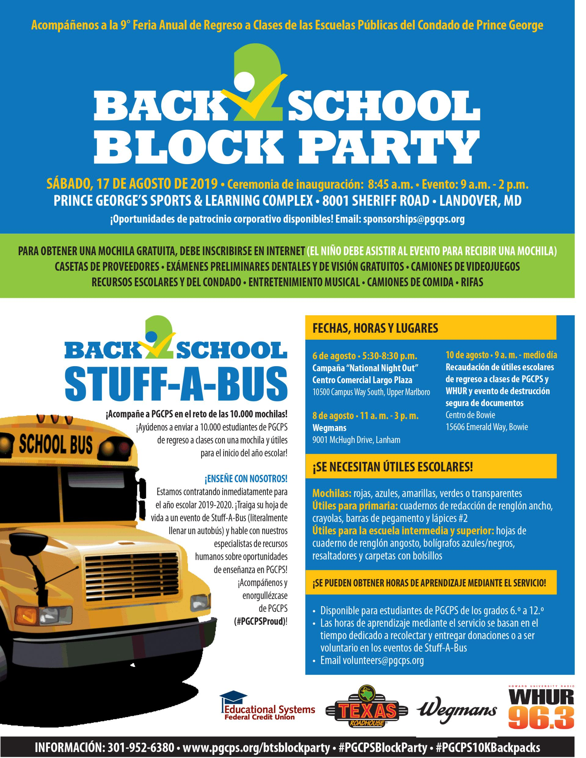 BTS Block Party - Stuff a Bus Flyer SPANISH FINAL