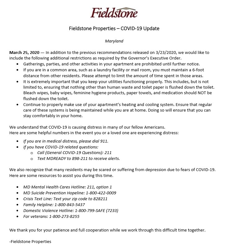 Fieldstone Properties COVID-19 Announcement