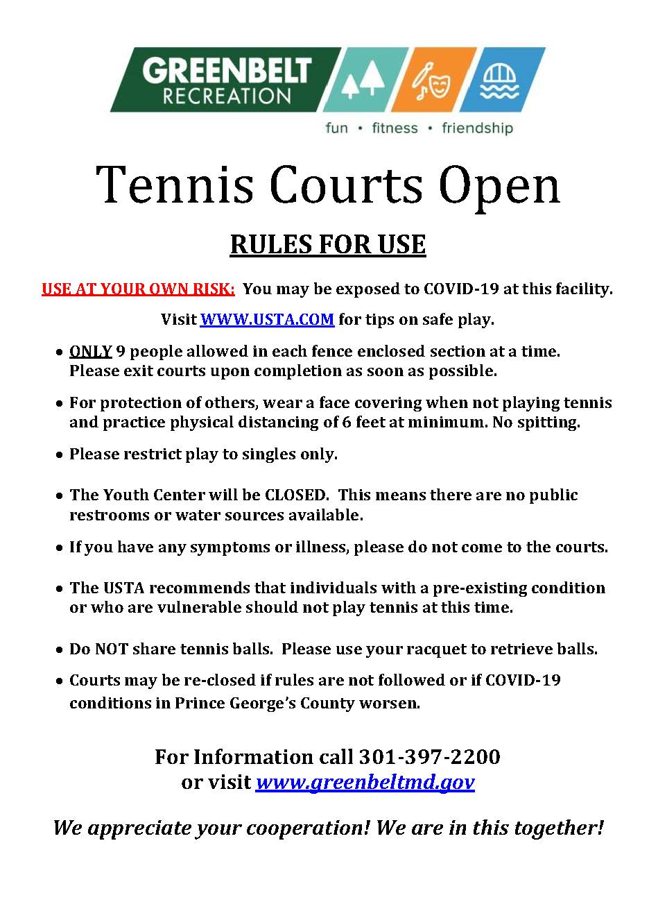 Tennis Courts Open May 22
