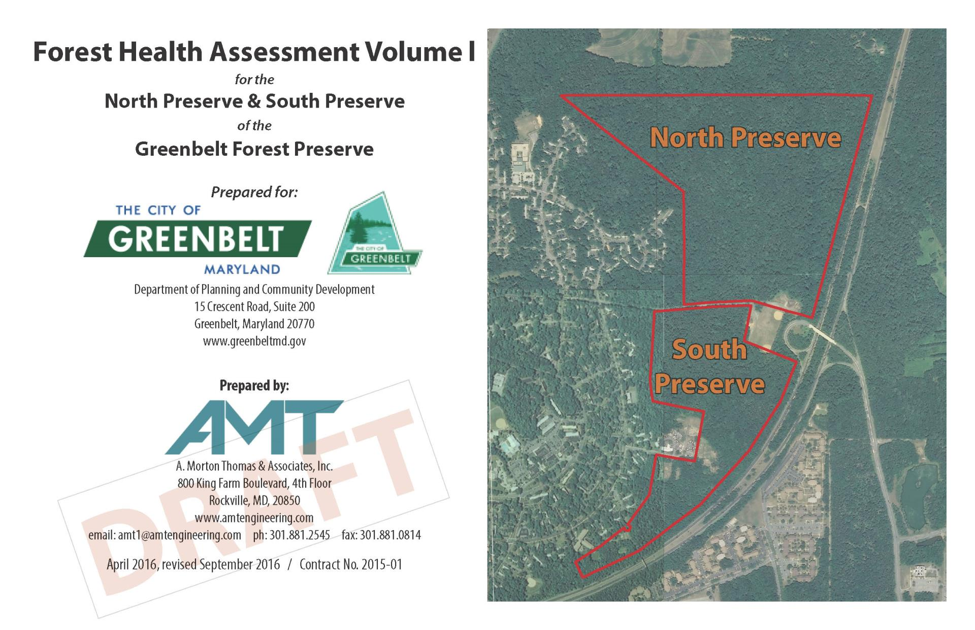 First page of report with map of North and South Preserve