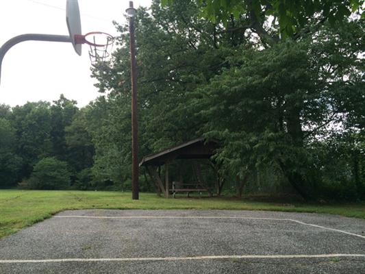 Basketball court, side view