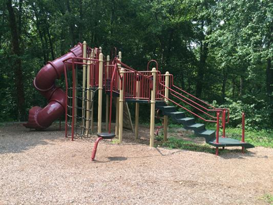 Jungle gym with tall twisty slide