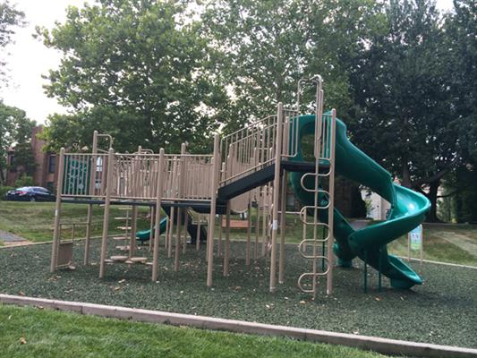 Jungle gym with tall slide