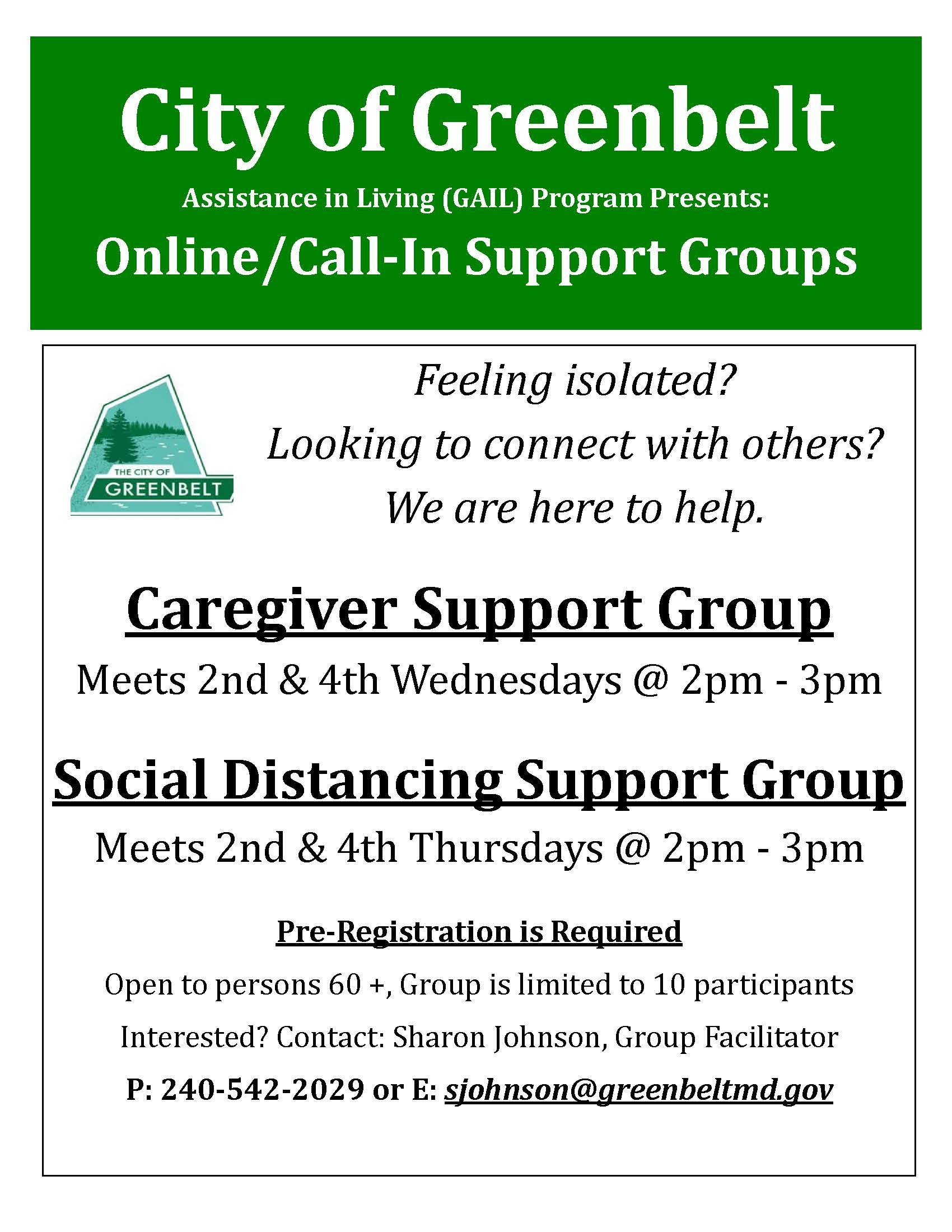 Greenbelt Online Support Groups April 2020